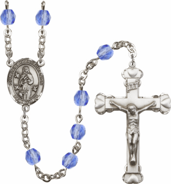 Our Lady of Assumption Patron Saint Birthstone Fire Polished Crystal Prayer Rosary