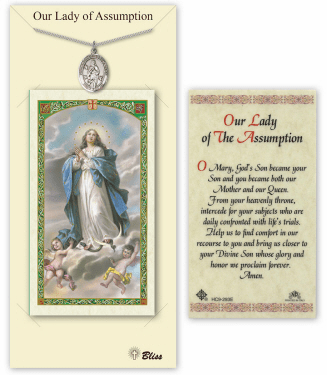 Our Lady of Assumption Pendant and Holy Prayer Card Gift Set by Bliss