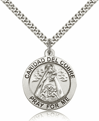 Our Lady of Caridad Del Cobre Sterling Silver Patron Pendant
