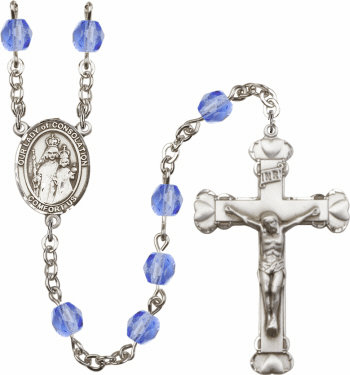 Our Lady of Consolation Patron Saint Birthstone Fire Polished Crystal Prayer Rosary
