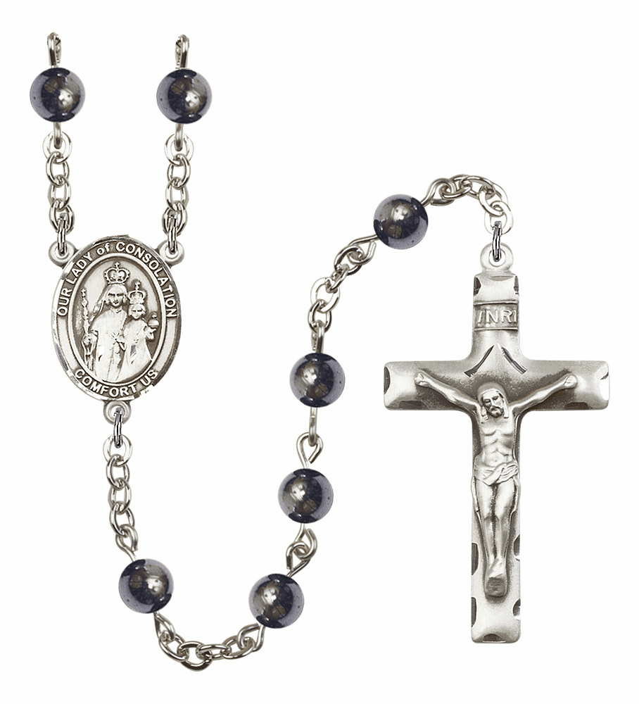 Our Lady of Consolation Silver Plate Gemstone Prayer Rosary by Bliss