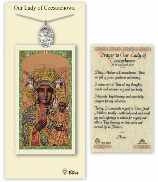 Our Lady of Czestochowa Pendant and Holy Prayer Card Gift Set by Bliss