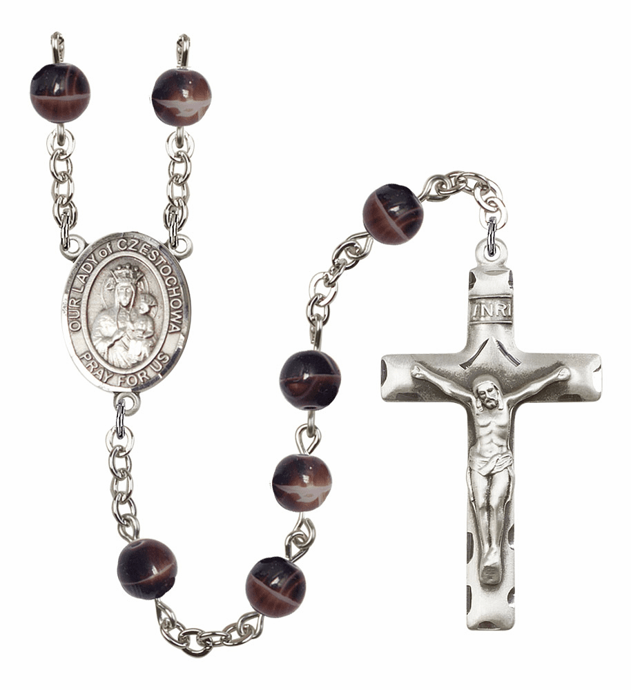 Our Lady of Czestochowa Silver Plate 7mm Brown Gemstone Prayer Rosary by Bliss