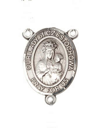 Our Lady of Czestochowa Sterling Silver Saint Rosary Center by Bliss