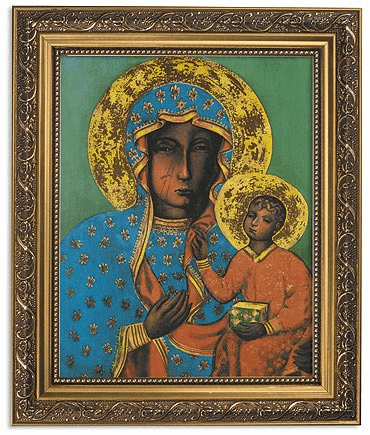 Our Lady of Czestohowa Icon Framed Print Picture with Gold Frame by Gerffert