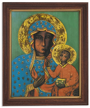 Our Lady of Czestohowa Icon Framed Print Picture with Woodtone Frame by Gerffert
