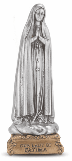 Our Lady of Fatima Fine Pewter Statue on Gold Tone Base by Hirten