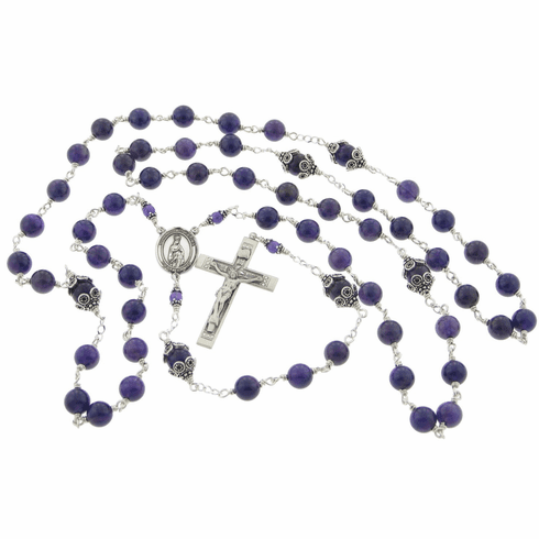 Our Lady of Fatima Sterling Silver Amethyst Rosary by Heavenly Divine