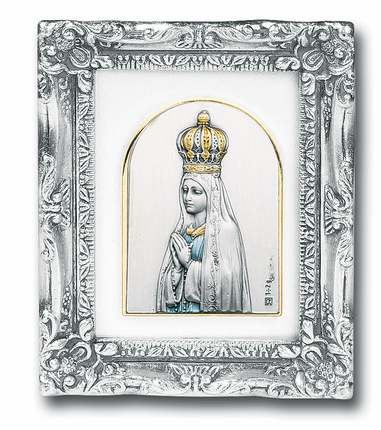 Our Lady of Fatima Sterling Silver Image wAntique Silver Leaf Frame Picture by Salerni