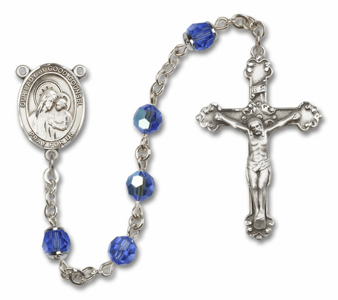 Our Lady of Good Counsel Patron Saint Sapphire Swarovski Sterling Rosary by Bliss