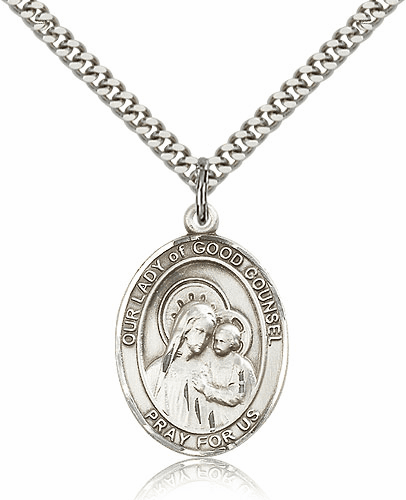 Our Lady of Good Counsel Sterling Silver Patron Sterling Silver Saint Medal Necklace by Bliss Mfg