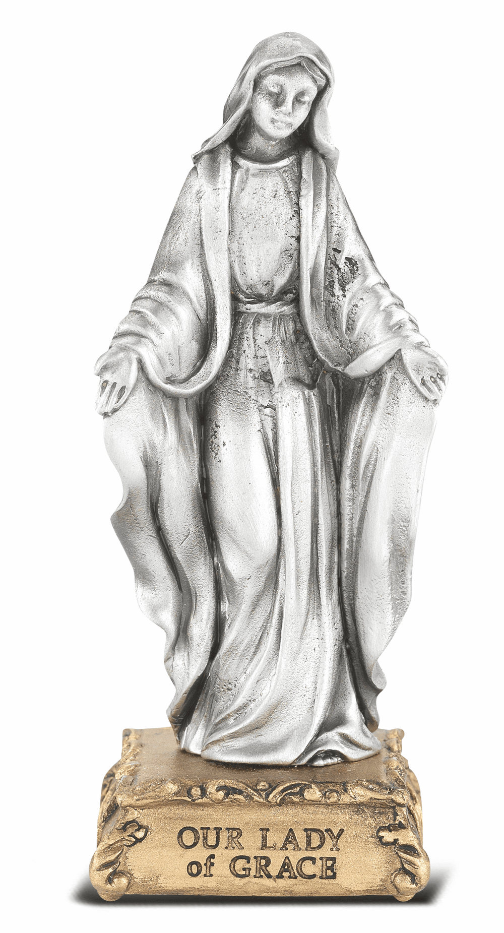 Our Lady of Grace Patron Saint Pewter Statue on Gold Tone Base by Hirten