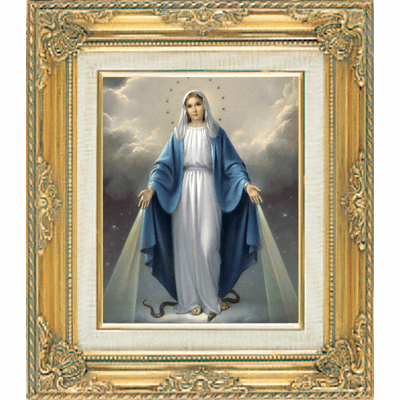Our Lady of Grace under Glass w/Gold Framed Picture by Cromo N B Milan Italy