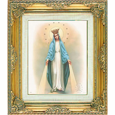 Our Lady of Grace w/Stars under Glass w/Gold Framed Picture by Cromo N B