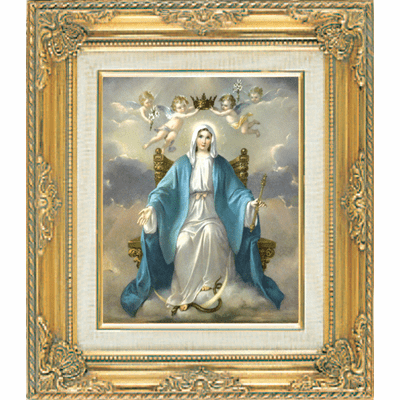 Our Lady of Grace with Angels under Glass w/Gold Framed Picture by Cromo N B