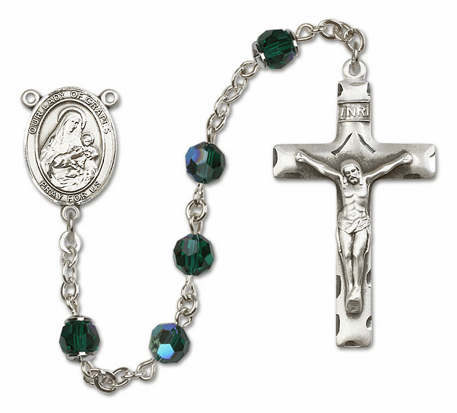 Our Lady of Grapes Emerald Swarovski Sterling Silver Prayer Rosary by Bliss