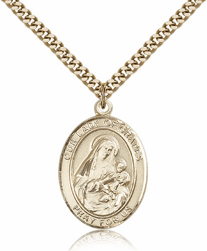 Our Lady of Grapes Gold Filled Patron Medal Necklace by Bliss