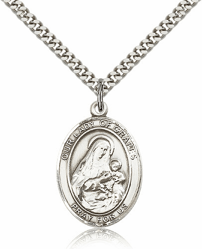 Our Lady of Grapes Sterling Silver Patron Medal Necklace by Bliss