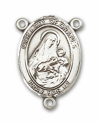 Our Lady of Grapes Sterling Silver Saint Rosary Center by Bliss