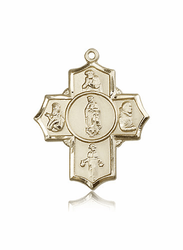 Our Lady of Guadalupe 5 Way 14kt Gold Cross Medal