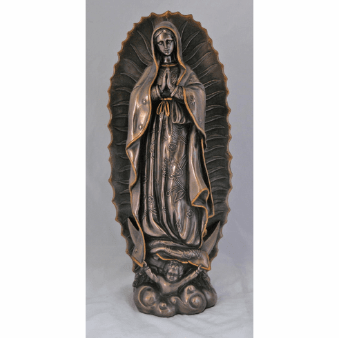 Our Lady of Guadalupe Bronze Cold Cast Sculpture Statue