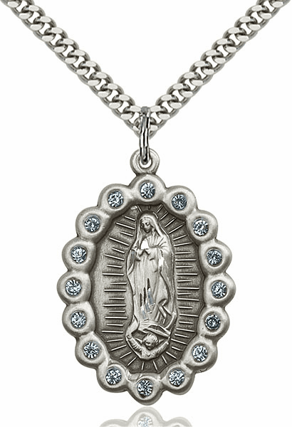 Our Lady of Guadalupe Encircled Aqua Swarovski Crystal Pendant by Bliss