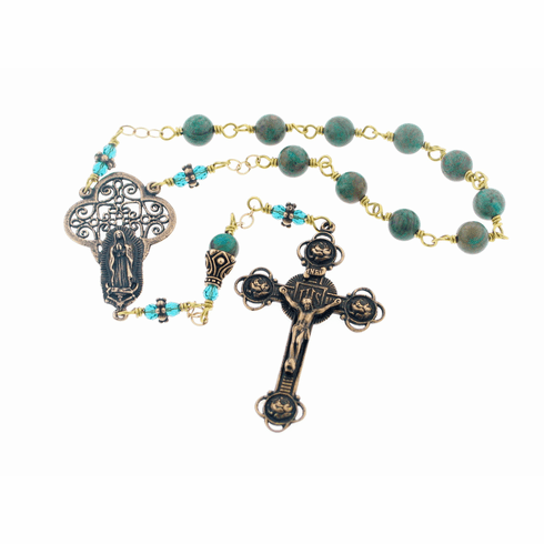 Our Lady of Guadalupe Handmade Wire Wrapped Sky Blue Jasper Pocket Prayer Rosary