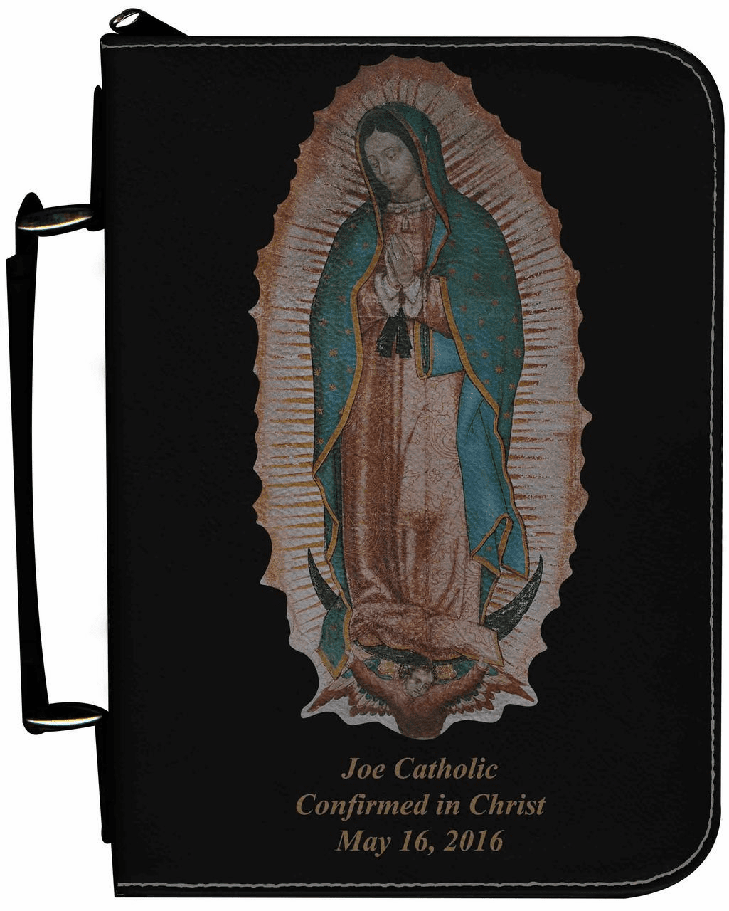 Our Lady of Guadalupe Personalized Black Catholic Bible Cover Case
