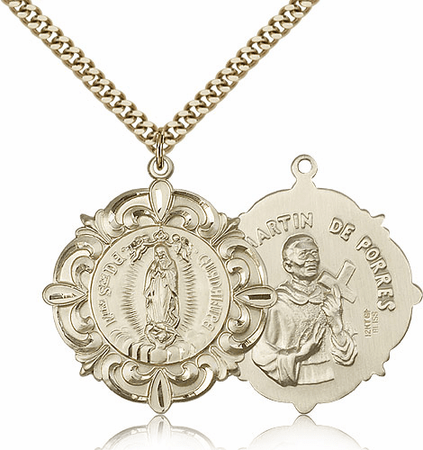 Our Lady of Guadalupe St Martin de Porres Patron Saint Medal by Bliss