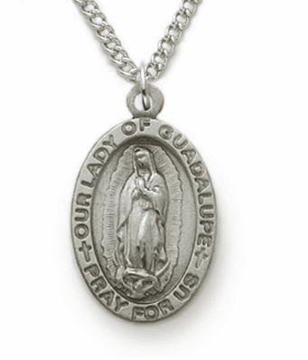 Our Lady of Guadalupe Sterling Silver Medal Necklace by Singer