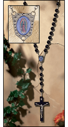 Our Lady of Guadalupe Wall Prayer Rosary with Wood Beads