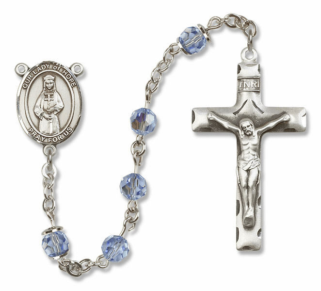 Our Lady of Hope Lt Sapphire Swarovski Sterling Prayer Rosary by Bliss