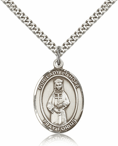 Our Lady of Hope Pewter Patron Saint Catholic Necklace by Bliss