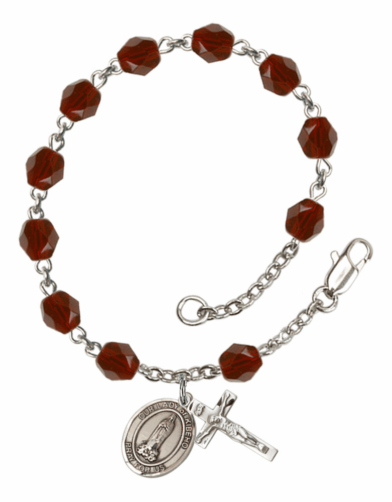 Our Lady of Kibeho Silver Plate Birthstone Rosary Bracelet by Bliss