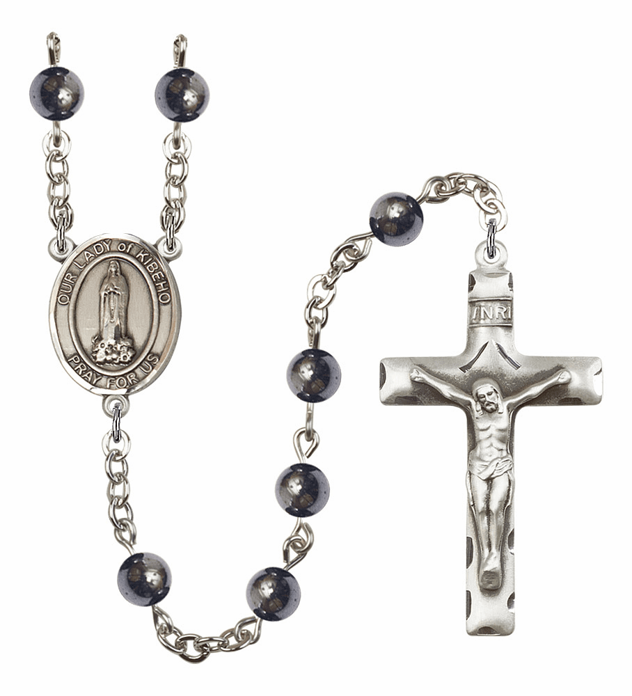 Our Lady of Kibeho Silver Plate Gemstone Prayer Rosary by Bliss
