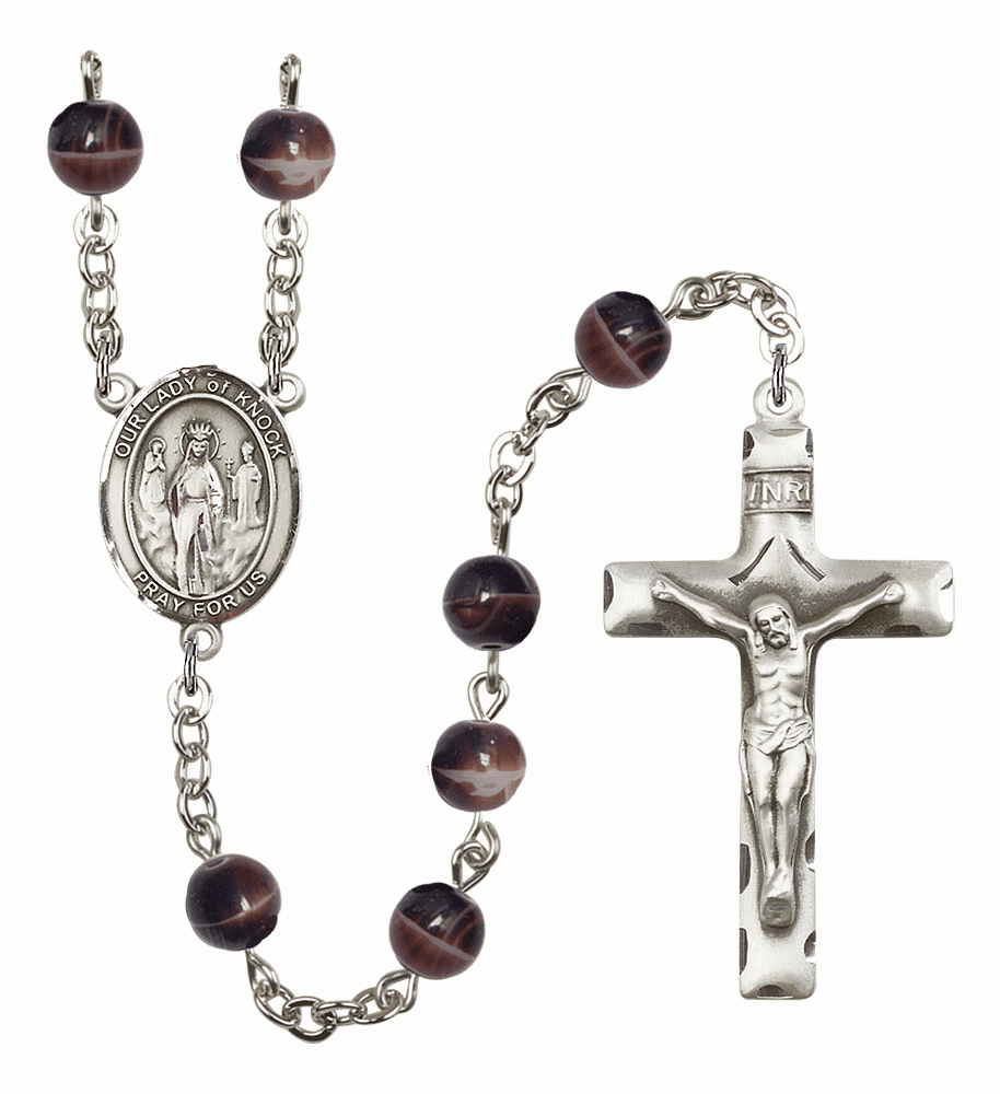 Our Lady of Knock 7mm Brown Gemstone Rosary by Bliss