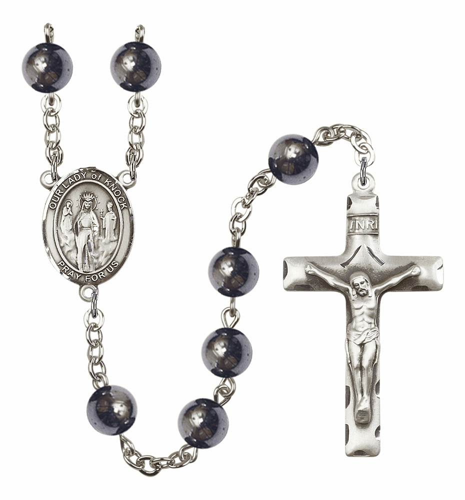 Our Lady of Knock 8mm Hematite Gemstone Rosary by Bliss