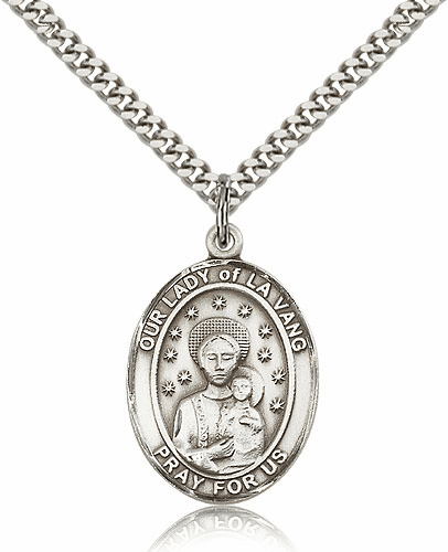 Our Lady of La Vang Silver-filled Patron Saint Necklace with Chain by Bliss