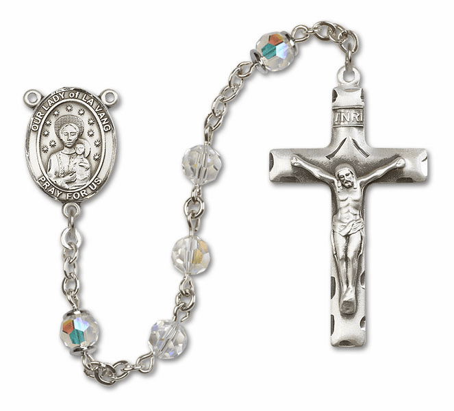 Our Lady of la Vang Swarovski Saint Sterling Silver Prayer Rosary by Bliss