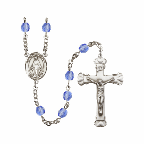 Our Lady of Lebanon Birthstone Fire Polished Crystal Rosary - More Colors