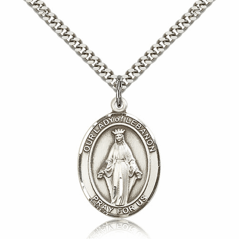 Our Lady of Lebanon Pewter Patron Saint Catholic Necklace by Bliss