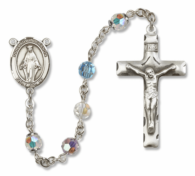 Our Lady of Lebanon Swarovski Sterling Silver Prayer Rosary by Bliss