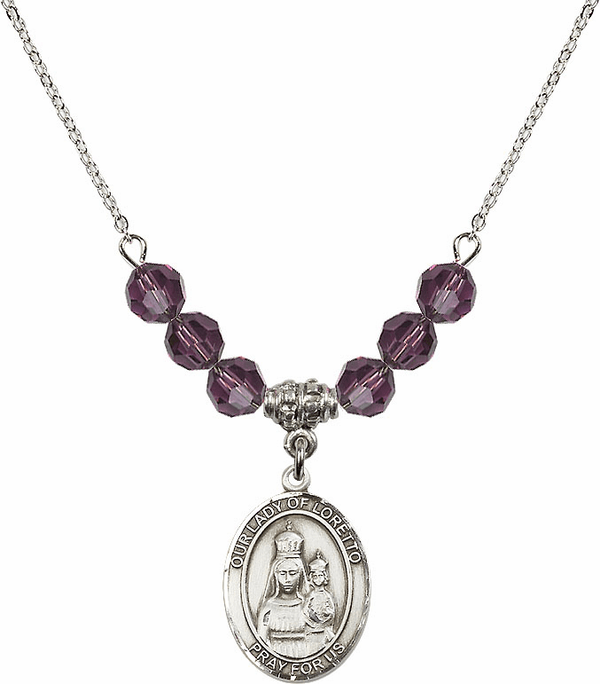 Our Lady of Loretto Amethyst Swarovski Necklace by Bliss Mfg