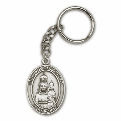 Our Lady of Loretto Antique Gold or Silver Saint Keychain