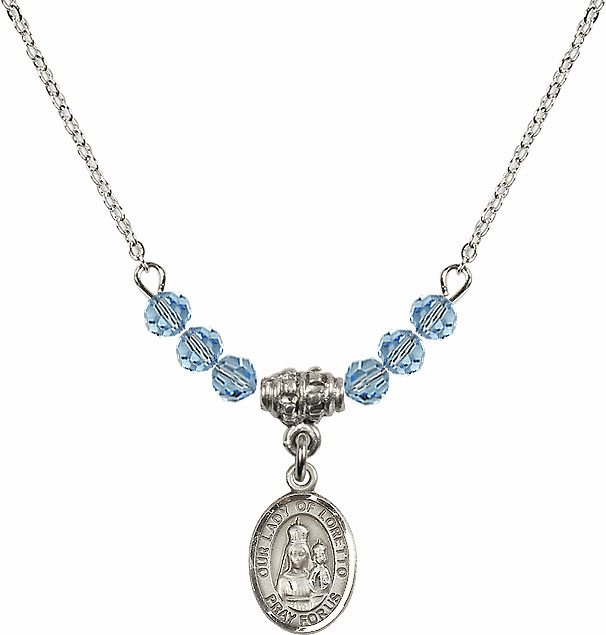 Our Lady of Loretto Aqua Swarovski Beaded Necklace by Bliss Mfg