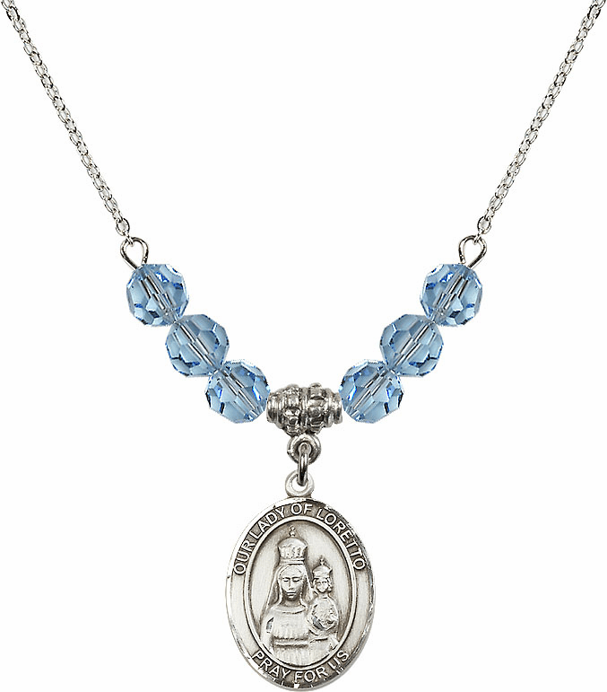Our Lady of Loretto Aqua Swarovski Necklace by Bliss Mfg