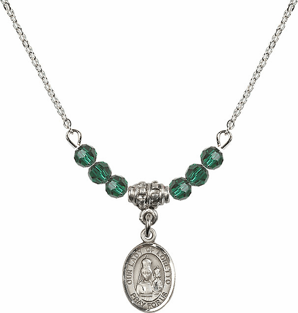 Our Lady of Loretto Emerald Swarovski Beaded Necklace by Bliss Mfg