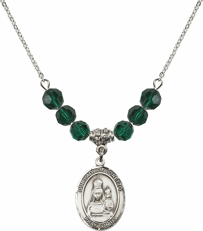 Our Lady of Loretto Emerald Swarovski Necklace by Bliss Mfg