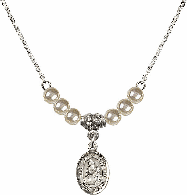 Our Lady of Loretto Faux Pearl Beaded Necklace by Bliss Mfg