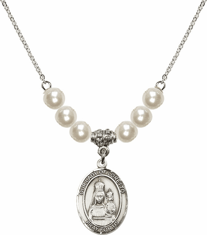 Our Lady of Loretto Faux Pearl Necklace by Bliss Mfg